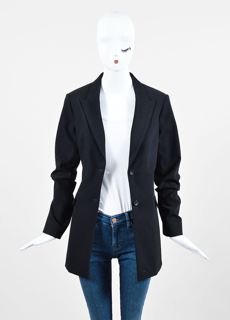 "The Row Black Cotton Wool ""Pliner"" Two Button Blazer Jacket Frontview"