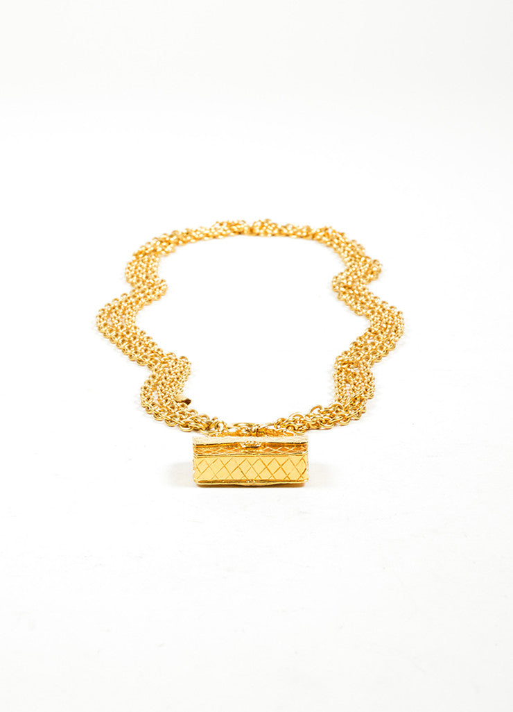 Gold Toned Chanel 'CC' Flap Bag Multi-Strand Necklace Front 2