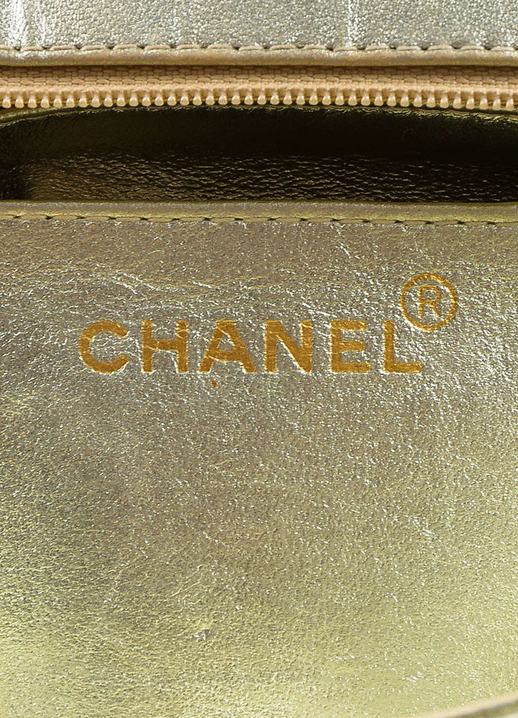 "Chanel Metallic Gold Leather Vertical Quilted ""Kelly Flap"" Handbag Brand"