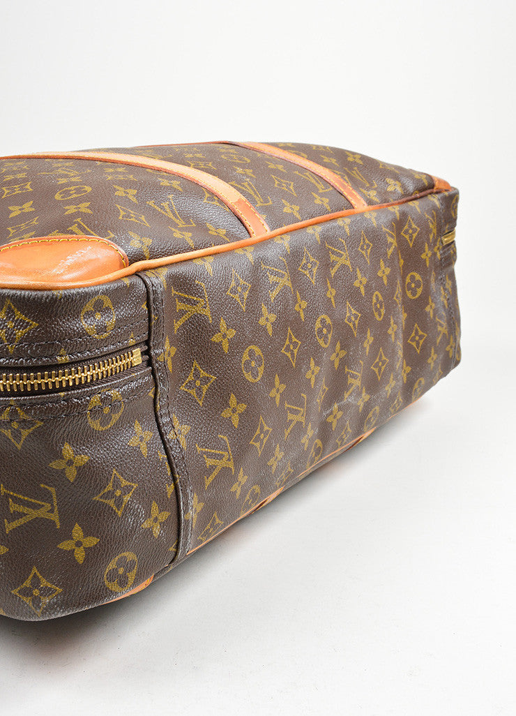 "Brown Louis Vuitton Monogram Canvas ""Sirius 55"" Luggage Travel Bag Bottom View"