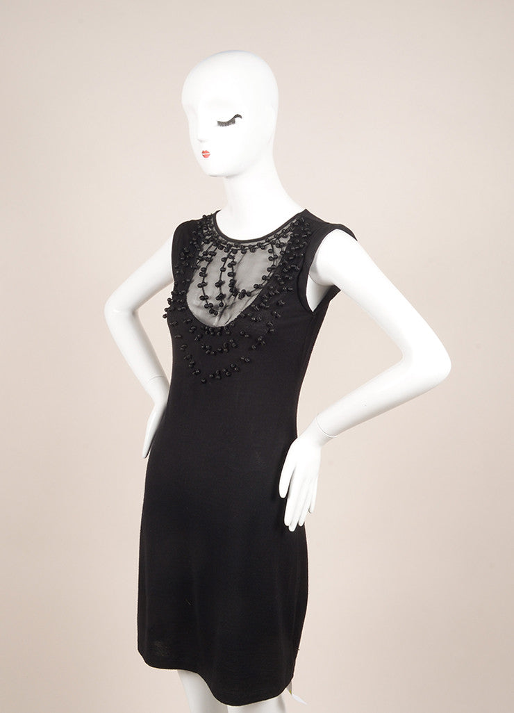 Valentino Black Bead Embellished Wool, Silk, and Cashmere Sleeveless Knit Dress Sideview