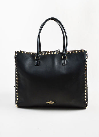 "Valentino Garavani Black Leather ""Rockstud"" Top Handle Shopper Tote Bag Frontview"