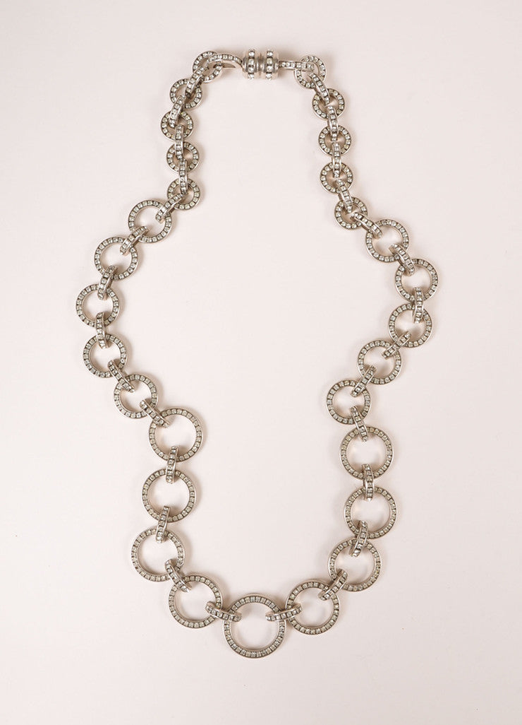 Valentino Silver Toned Rhinestone Circle Loop Chain Link Necklace Frontview