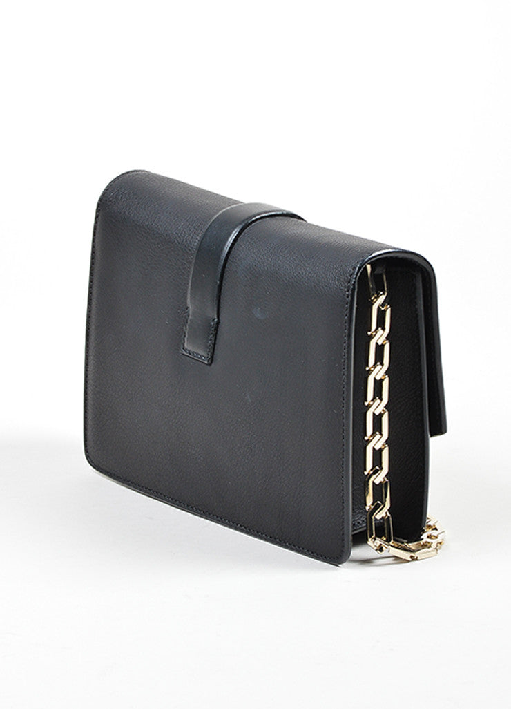 Black Victoria Beckham Leather Mini Chain Satchel Bag Sideview
