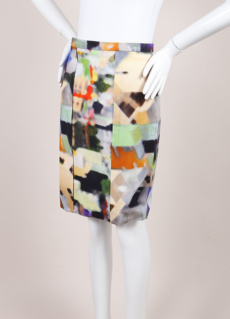 Yigal Azrouel Multicolor Cotton Blend Watercolor Woven Pencil Skirt Sideview