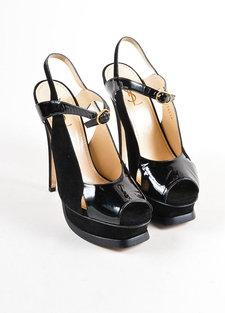 Yves Saint Laurent Black Suede and Patent Leather Cut Out Platform Pumps Frontview