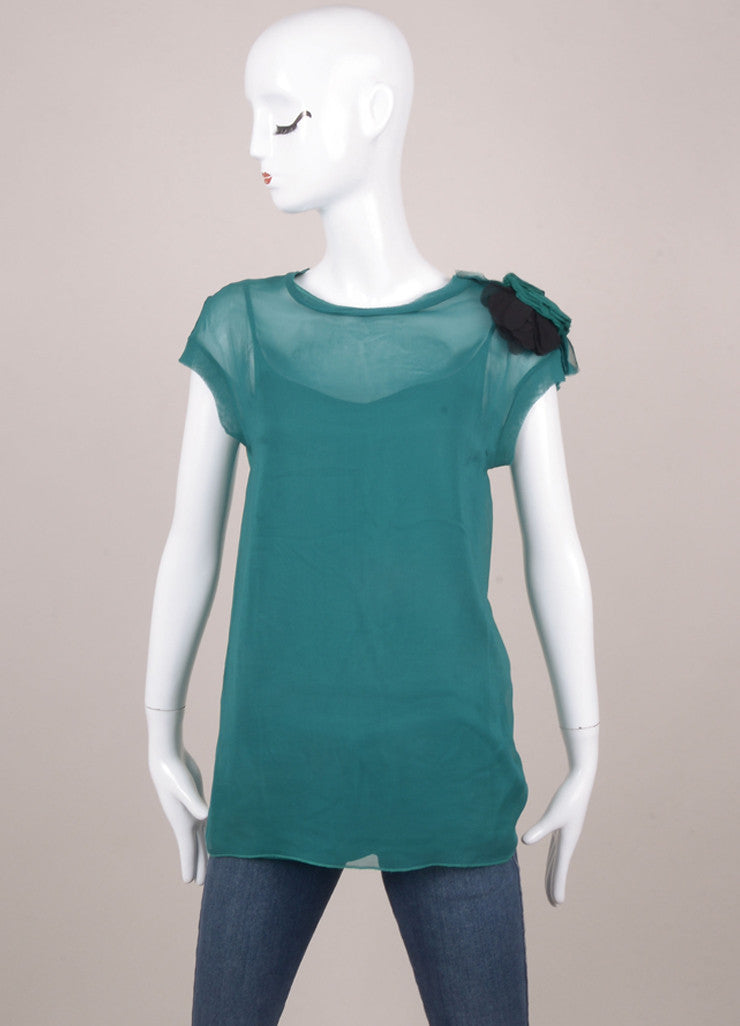 Emerald Green Sheer Overlay Floral Detail Top