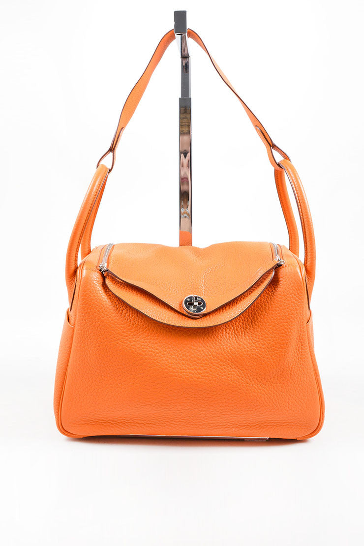 "Hermes Fire Orange Taurillon Clemence Calfskin Leather 30cm ""Lindy"" Bag Frontview"