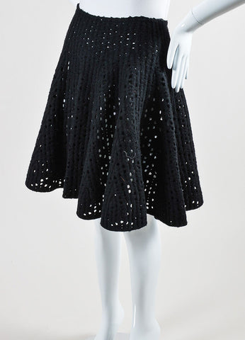 Alaia Black Fleece Wool Blend Laser Cut Short Swing Sweater Skirt Sideview