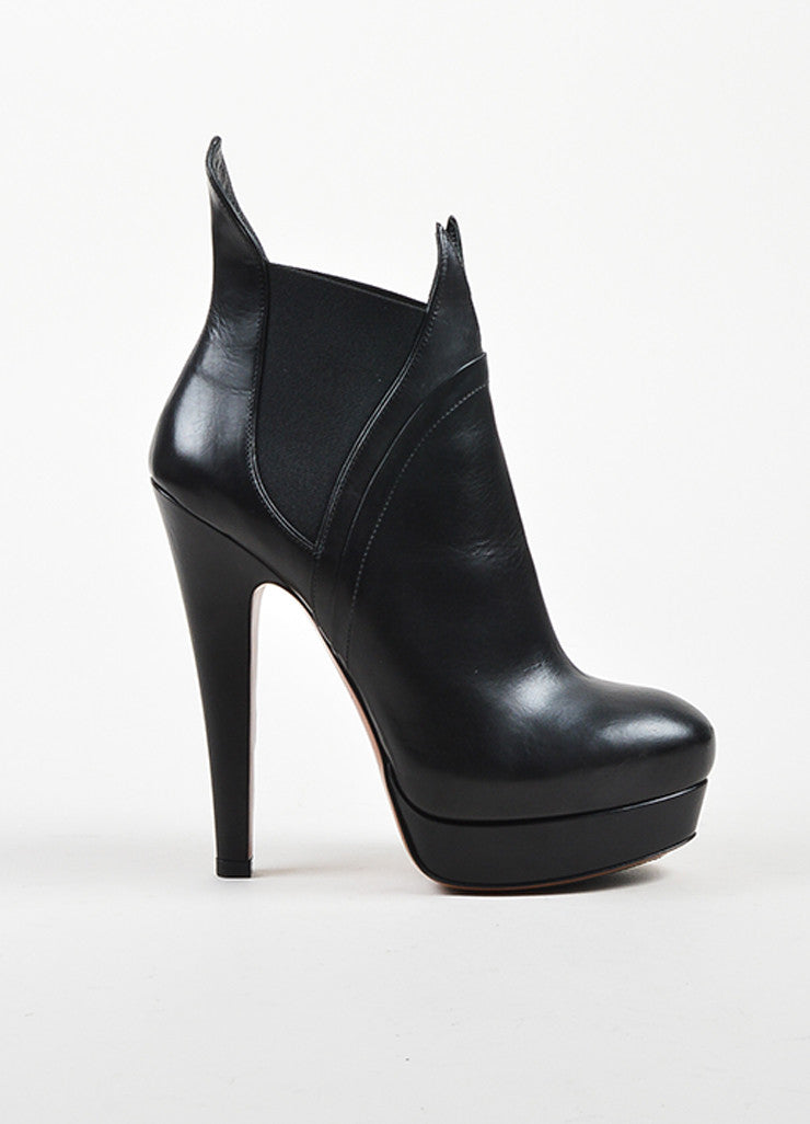 Black Alaia Leather Elastic Panel High Heel Platfrom Flame Ankle Boots Sideview