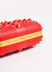 "Alexander McQueen Red Spike Studded ""Britannia Classic Skull"" Clutch Bag Bottom View"