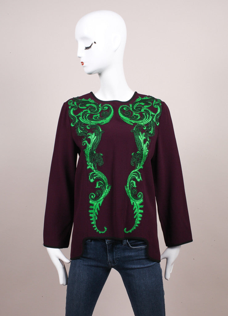 Andrew Gn New With Tags Purple and Green Embroidered Applique Long Sleeve Crepe Blouse Frontview