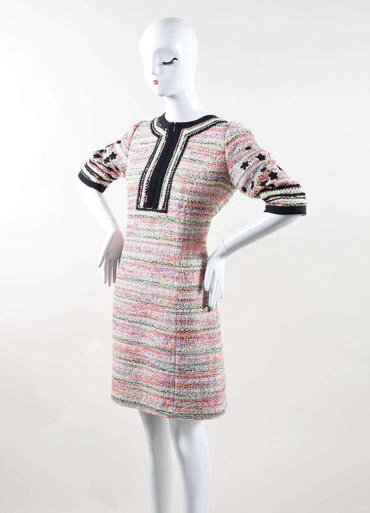 Andrew Gn Pink Black Multicolor Sparkle Woven Floral Shift Dress Sideview
