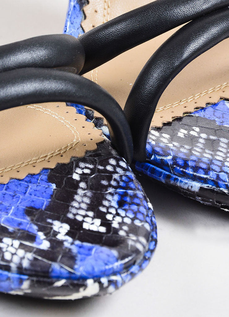 Aquazzura Black, Blue, and White Snakeskin Strappy Sandal Heels Detail