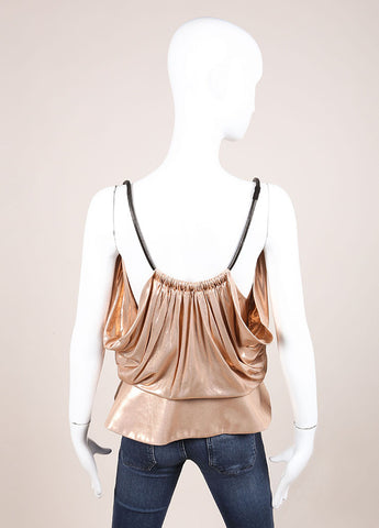 Balenciaga Metallic Blush Peplum Tank Top Backview