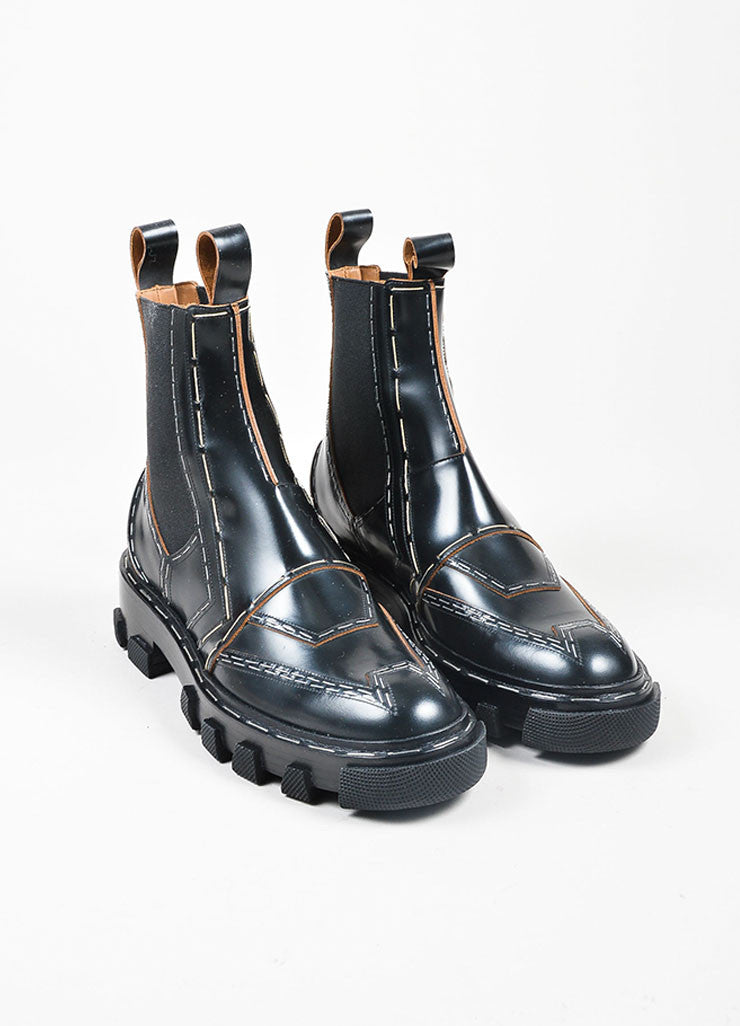 "Black Balenciaga Leather Staple ""Chelsea"" Combat Boots Frontview"