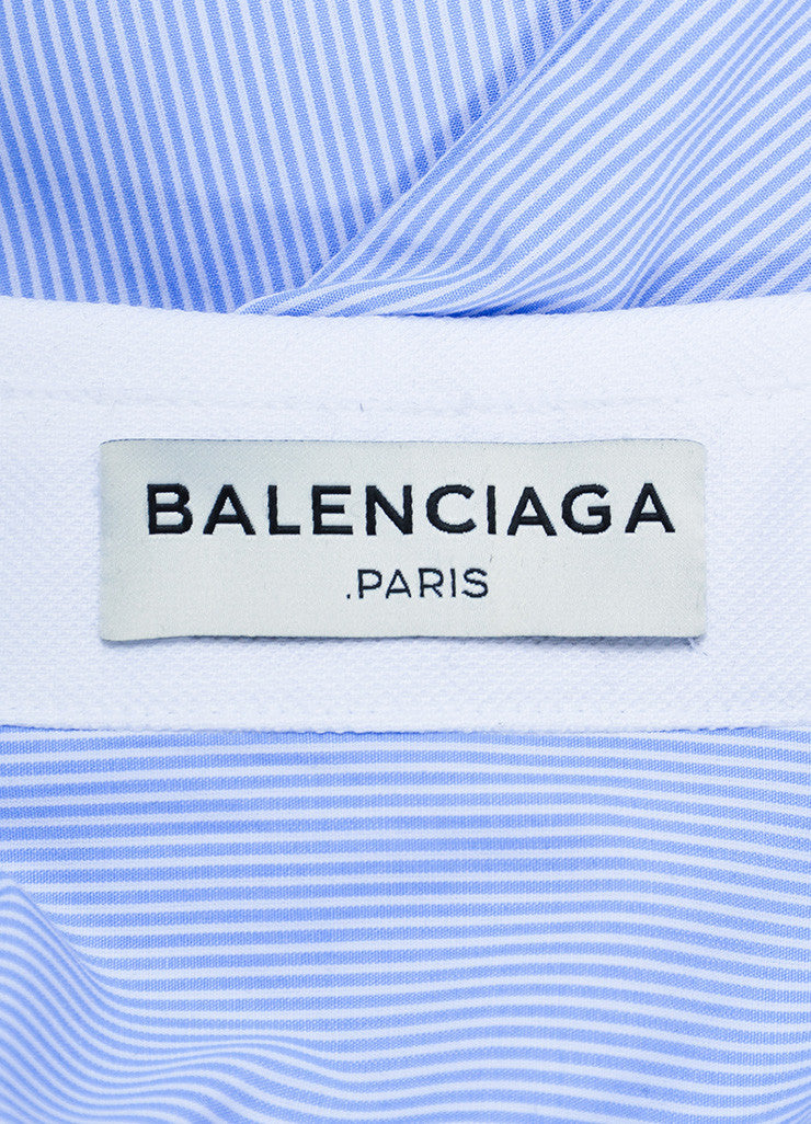 White and Blue Balenciaga Striped Sleeveless Collared Tank Top Brand