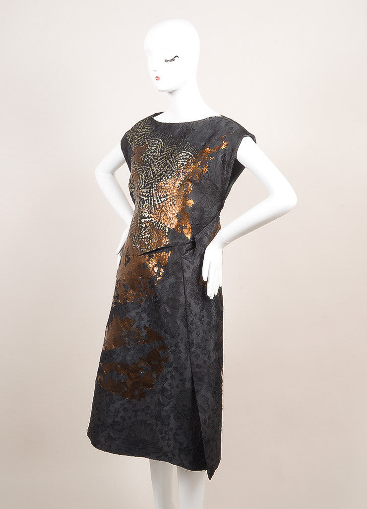 Bottega Veneta New With Tags Blue, Metallic Silver, and Bronze Silk and Lace Dress Sideview