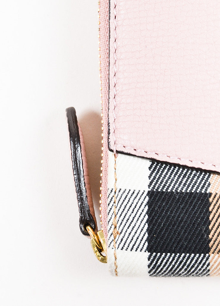 "Burberry Pink and Multicolor Leather Plaid ""Elmore House Check Derby"" Wallet Detail 2"