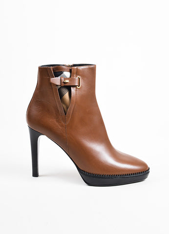 "Burberry ""Tan"" Brown Leather Platform ""Lysterfield"" Ankle Booties Sideview"