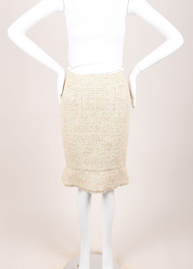 Chanel Green and Pink Houndstooth Tulip Skirt Frontview
