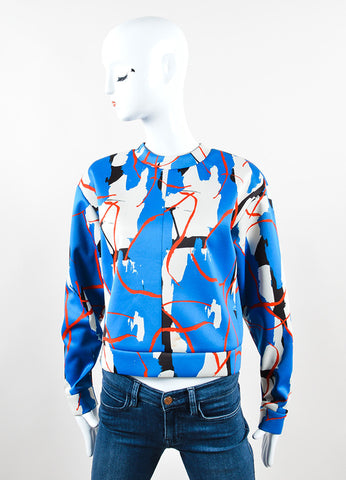 Cedric Charlier Multicolor Abstract Print Scuba Knit Pullover Frontview