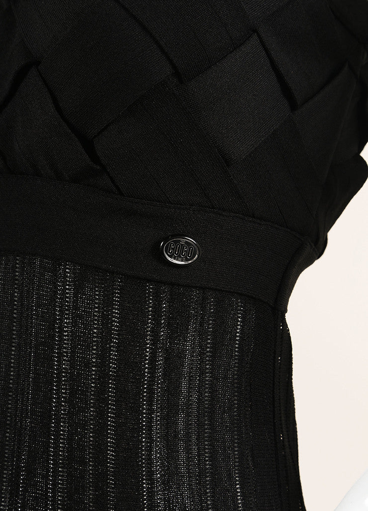 Chanel Black Woven Pleated Spaghetti Strap Dress Detail