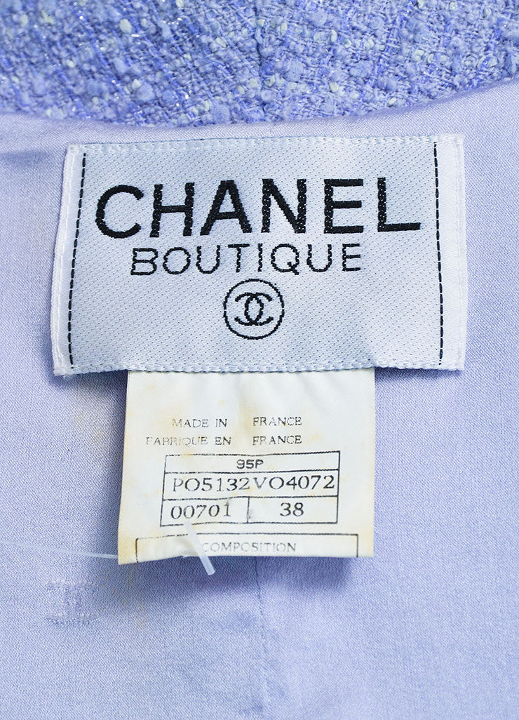 Periwinkle Metallic Chanel Tweed Sequin Trim Short Sleeve Skirt Suit Brand 2