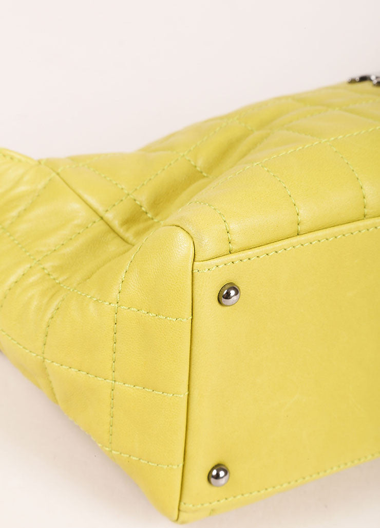 Chanel Lime Green Lambskin Leather Quilted Multi Chain Shoulder Bag Detail