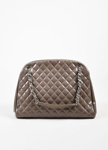 "Chanel Taupe Patent Leather Silver Toned Chain ""Just Mademoiselle Large"" Bag Frontview"