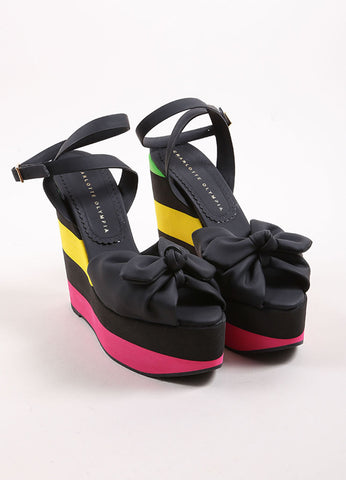 "Charlotte Olympia Black and Neon Striped Rubber Peep Toe Bow ""Miranda"" Wedges Frontview"