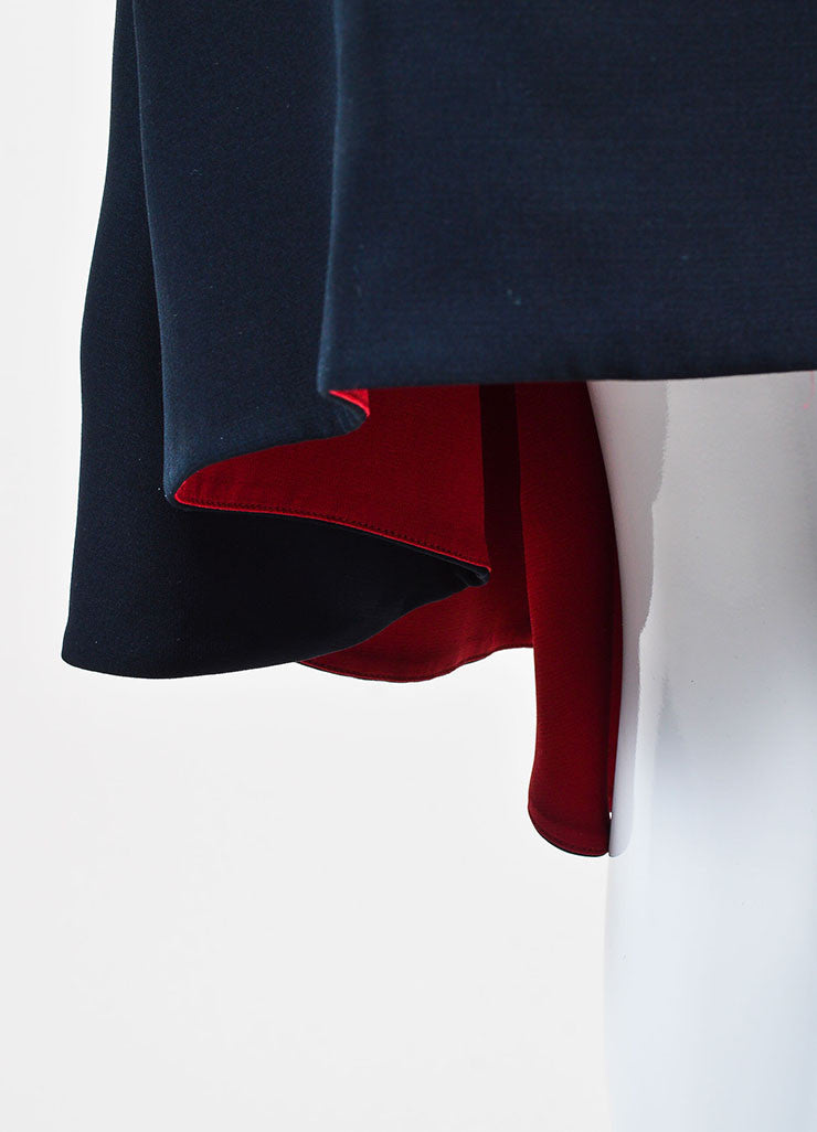 Black and Red Christian Dior Silk and Wool Contrast Lining Dress Detail