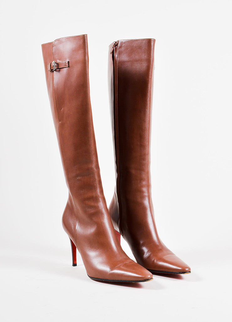 Christian Louboutin Brown Leather High Heeled Boots Front
