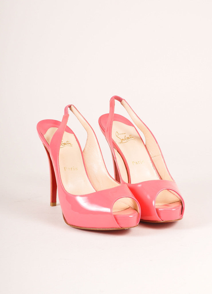"Christian Louboutin Pink Patent Leather ""So Private"" Peep Toe Slingbacks Frontview"