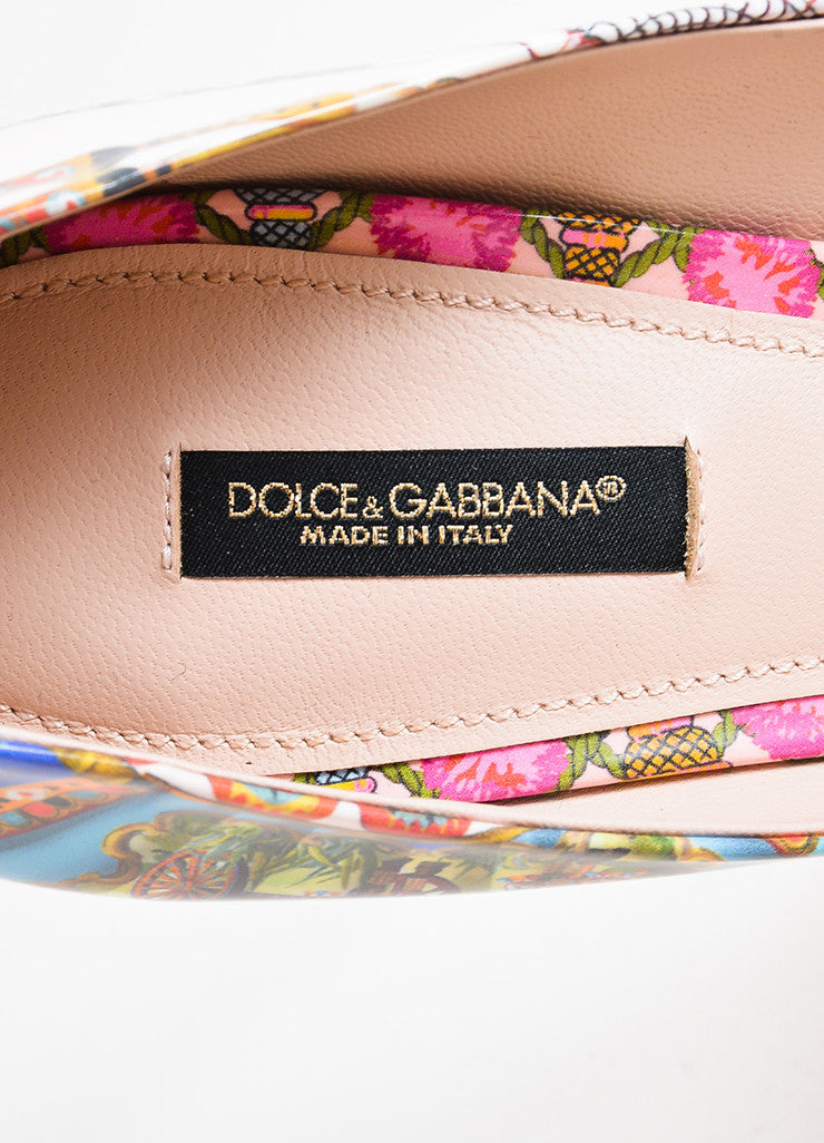 Dolce & Gabbana Beige and Multicolor Leather Print Pointed Toe Pumps Brand