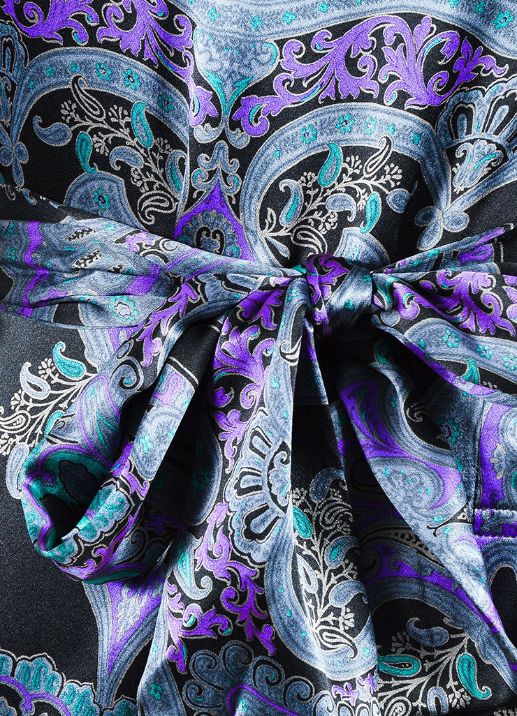 Grey, Purple, and Black Etro Silk Paisley Print Tie Neck Long Sleeve Dress Detail