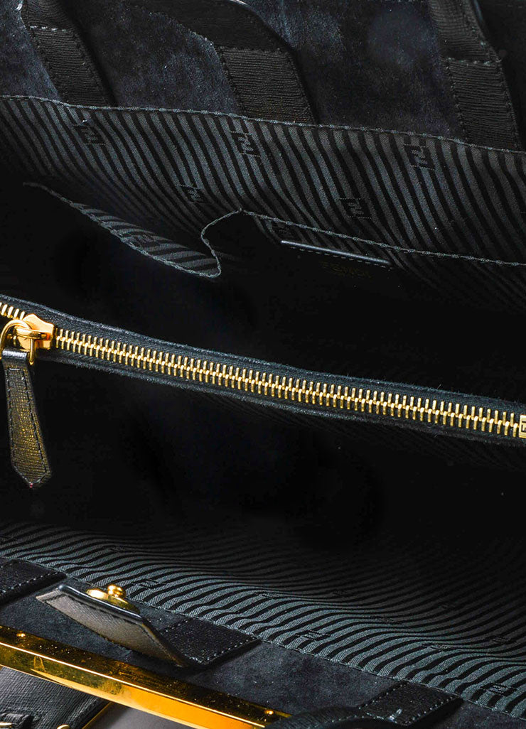 "Fendi Black Leather Gold Toned Hardware Structured ""2 Jours Shopper"" Shoulder Bag Interior"