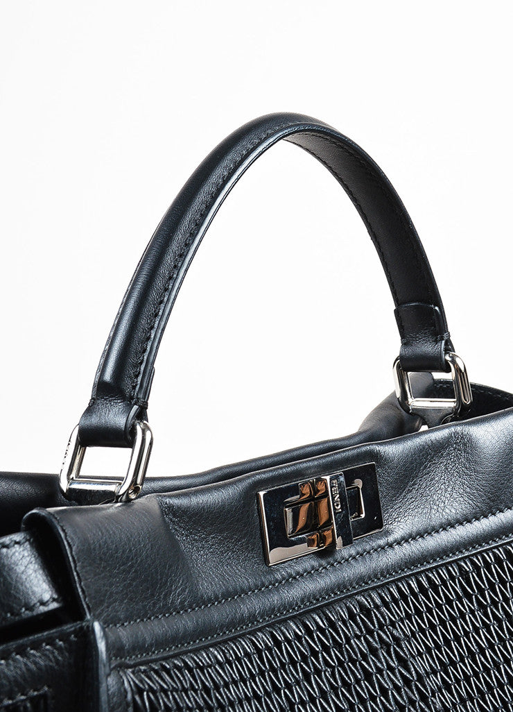 "Fendi Black Pleated Leather Multi Handle ""Large Peekaboo"" Tote Bag Detail 2"
