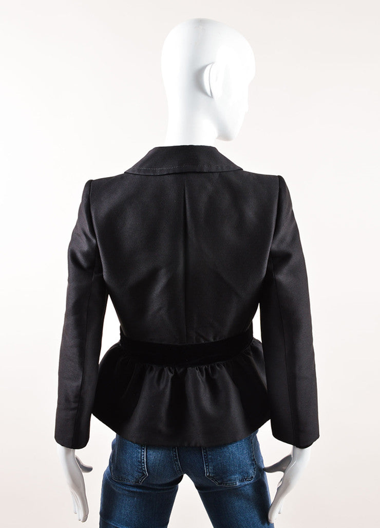 Giambattista Valli Black Wool and Silk Velvet Bow Blazer Backview