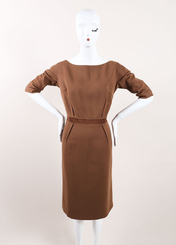 Giambattista Valli New With Tags Brown Wool Sheath Dress Frontview