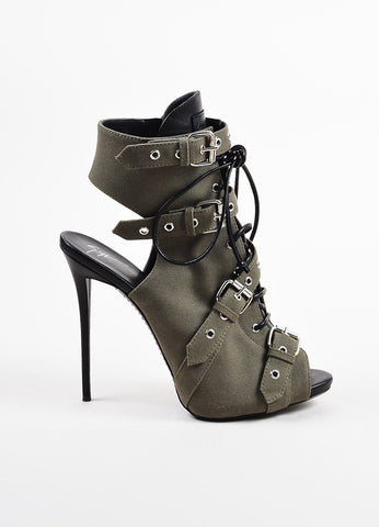 Giuseppe Zanotti Green and Black Canvas and Leather Buckled Peep Toe Booties Sideview
