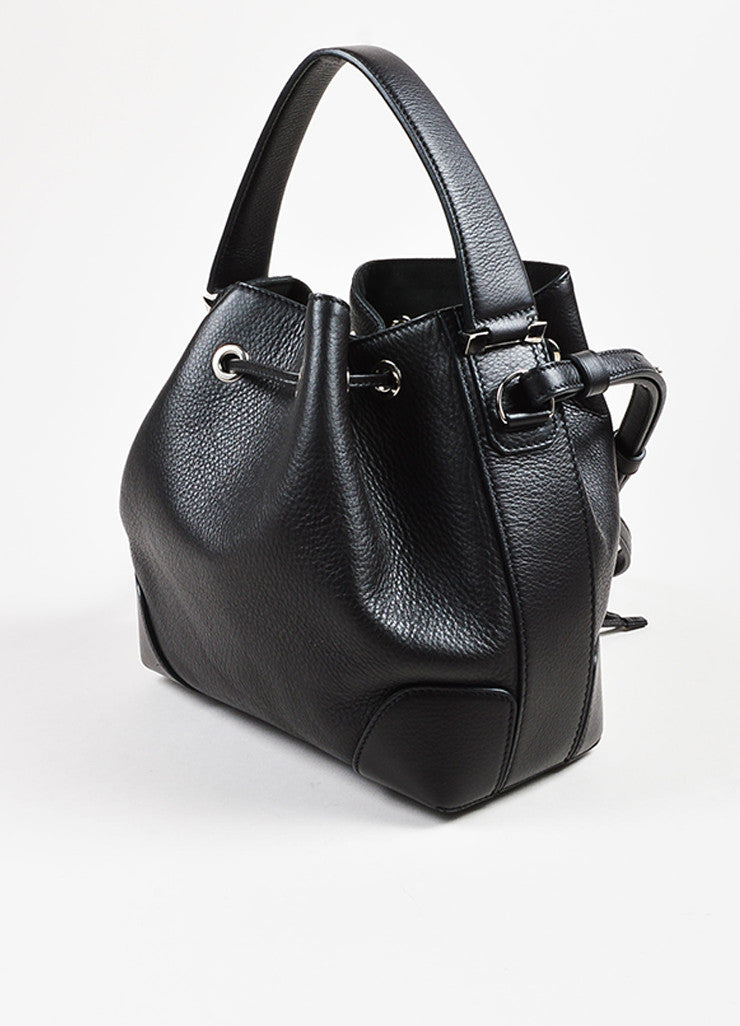 "Givenchy Black Grained Leather Small ""Lucrezia"" Two Way Bucket Bag Sideview"