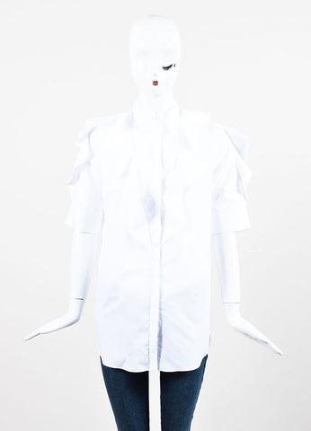 White Givenchy Cotton Ruffle Short Sleeve Button Up Blouse Frontview
