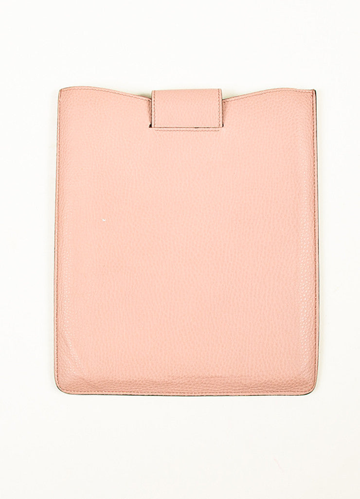 "¥éËGucci Blush Dusty Pink Pebbled Leather ""GG"" Embroidered ""Soho"" iPad Case Backview"