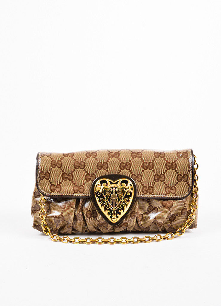 "Gucci Tan and Brown Coated Canvas Monogram Crested Heart ""Crystal Babouska"" Hand Bag Frontview"