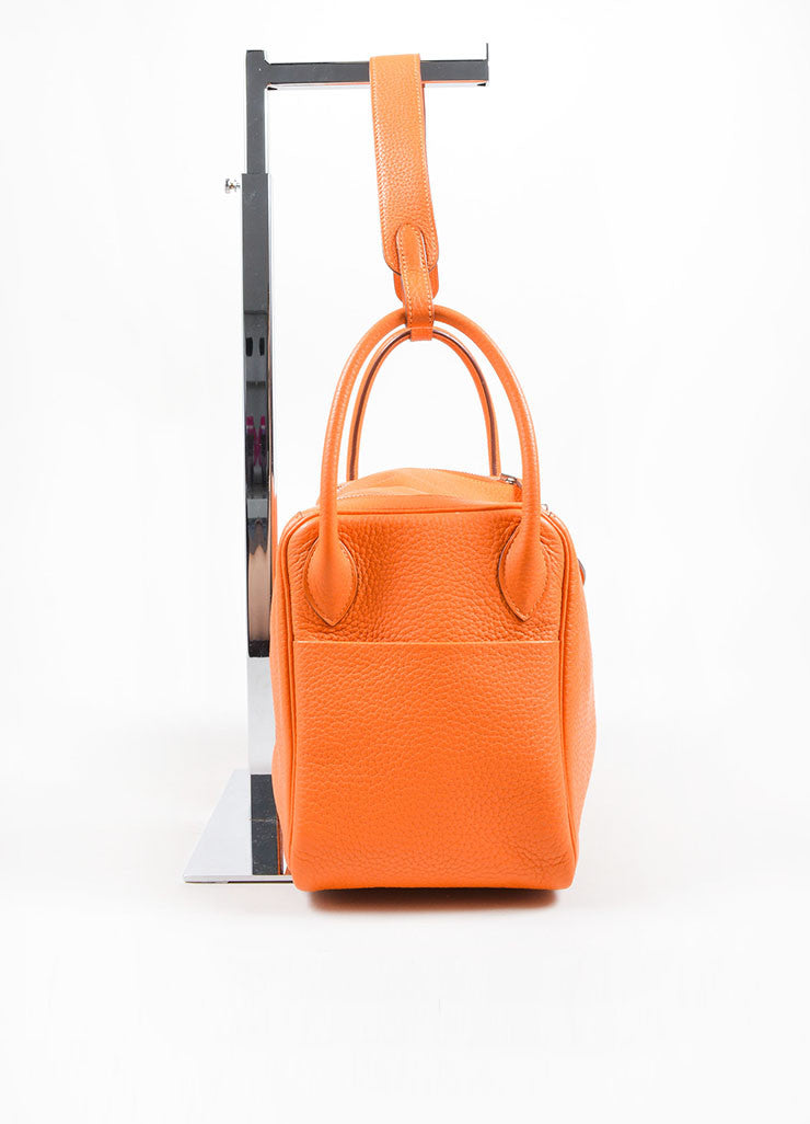 "Hermes Fire Orange Taurillon Clemence Calfskin Leather 30cm ""Lindy"" Bag Sideview"