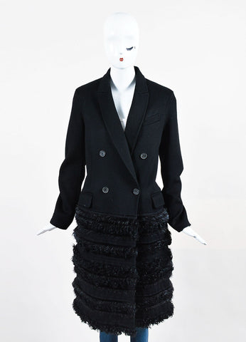 Black J. Mendel Wool Fur Trim Long Sleeve Coat Frontview 2