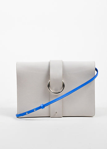 Grey and Blue Jil Sander Leather Accordian Flap Shoulder Bag Frontview