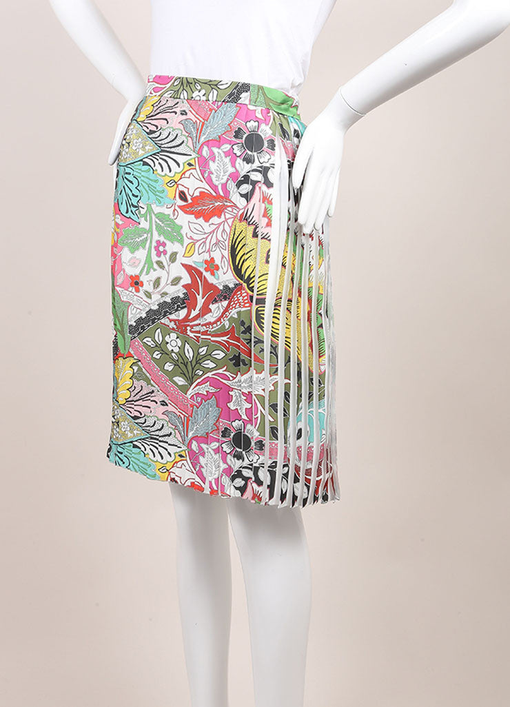 "Jonathan Saunders New With Tags Multicolor Floral Print Pleated ""Harleth"" Skirt Sideview"