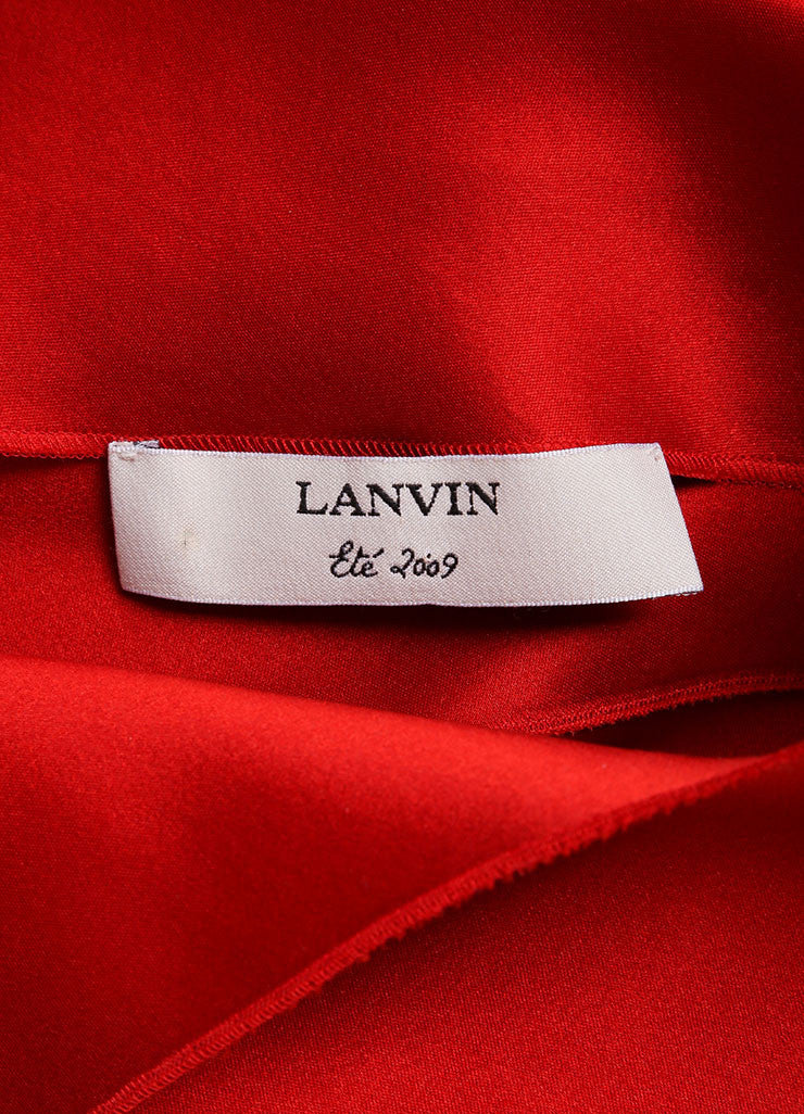 Lanvin Red Silk Draped Back Sleeveless Shift Dress Brand